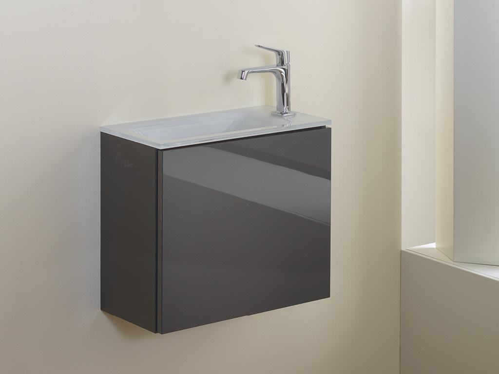 CLA K13 |u003e 50 Cm U003c| Front: Anthrazit Hochglanz, Waschtischplatte:  Glaswaschtisch